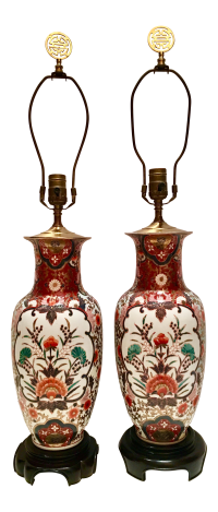 Hand-Painted Porcelain Imari Vase Table Lamps - A Pair ...