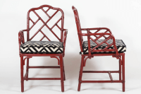 Vintage Bamboo Chinese Chippendale Chairs - A Pair | Chairish
