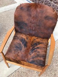 Danish Mid Century Modern Cowhide Chair | Chairish