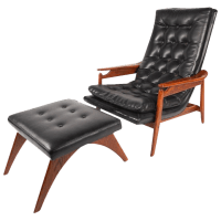 Mid-Century Modern Tufted Vinyl Lounge Chair and Ottoman ...