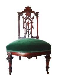 Velvet Walnut Victorian Chair | Chairish
