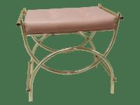Pink Tufted Brass Vanity Bench | Chairish