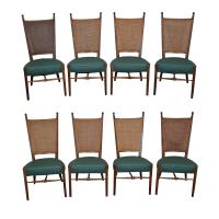 Teak Mid-Century Cane Back Dining Chairs - 8 | Chairish