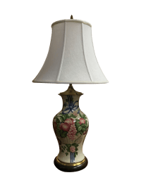 Hand Painted Fruit Porcelain Table Lamp | Chairish