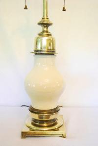 Vintage Stiffel Porcelain and Brass Lamp | Chairish