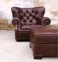 Restoration Hardware Churchill Chair & Ottoman | Chairish