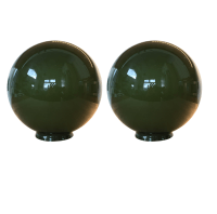 Green Glass Globes Pendant Lights - A Pair | Chairish