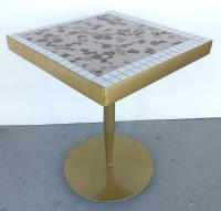 Mid-Century Modern Brass & Tile Side Tables - Pair | Chairish