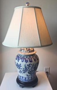 Chinese Blue & White Ginger Jar Lamp and Shade | Chairish