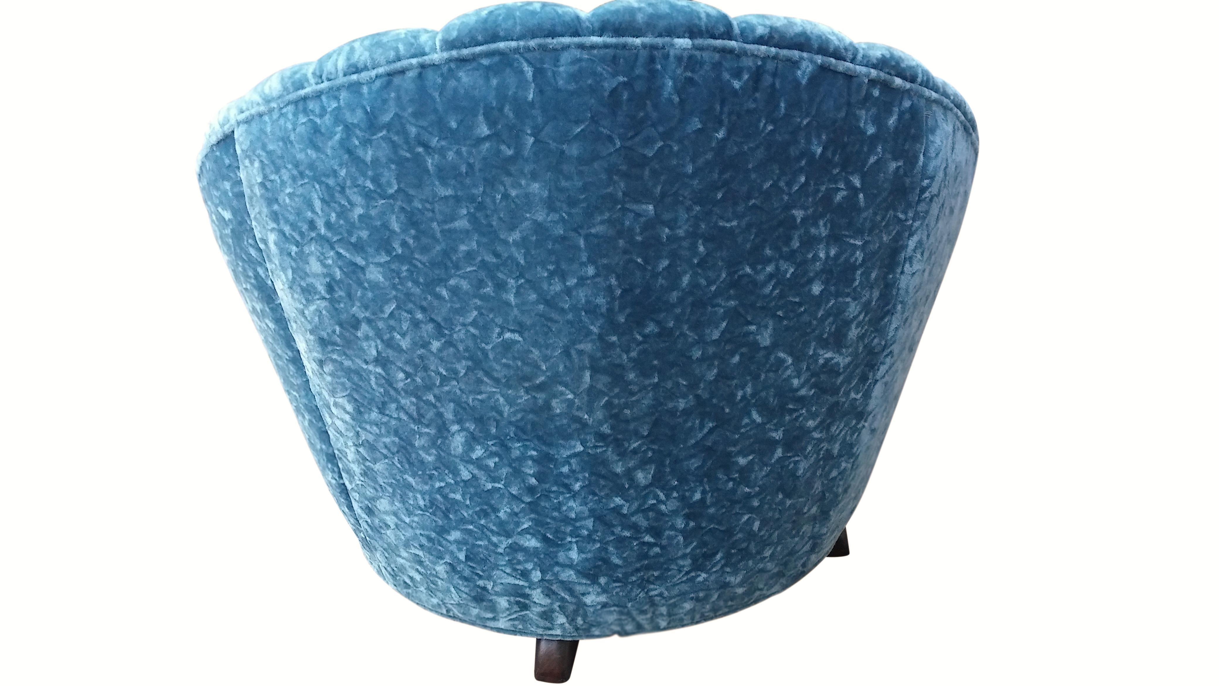 Scalloped Swivel Chair in Dark Teal  Chairish