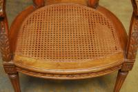 Neoclassical Louis XVI Shield Back Caned Fauteuil Chair ...