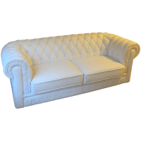 White Leather Tufted Back Sofa