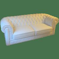 White Leather Tufted Back Sofa | Chairish