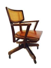 Mid-Century Rolling Desk Chair Danish Style Walnut | Chairish