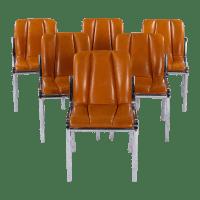 Spanish Chrome & Leather Chairs - Set of 6 | Chairish