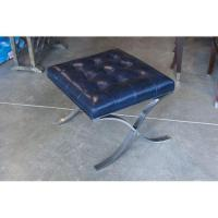 Tufted Navy/Royal Blue Leather Ottoman | Chairish