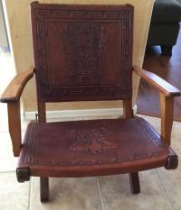 Rare Mid Century Folding Hand Tooled Leather Chair | Chairish