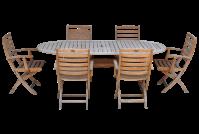 Rustic Teak Patio Dining Table & 6 Chairs   Chairish