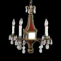 Italian Mirrored Tole & Crystal Chandelier | Chairish