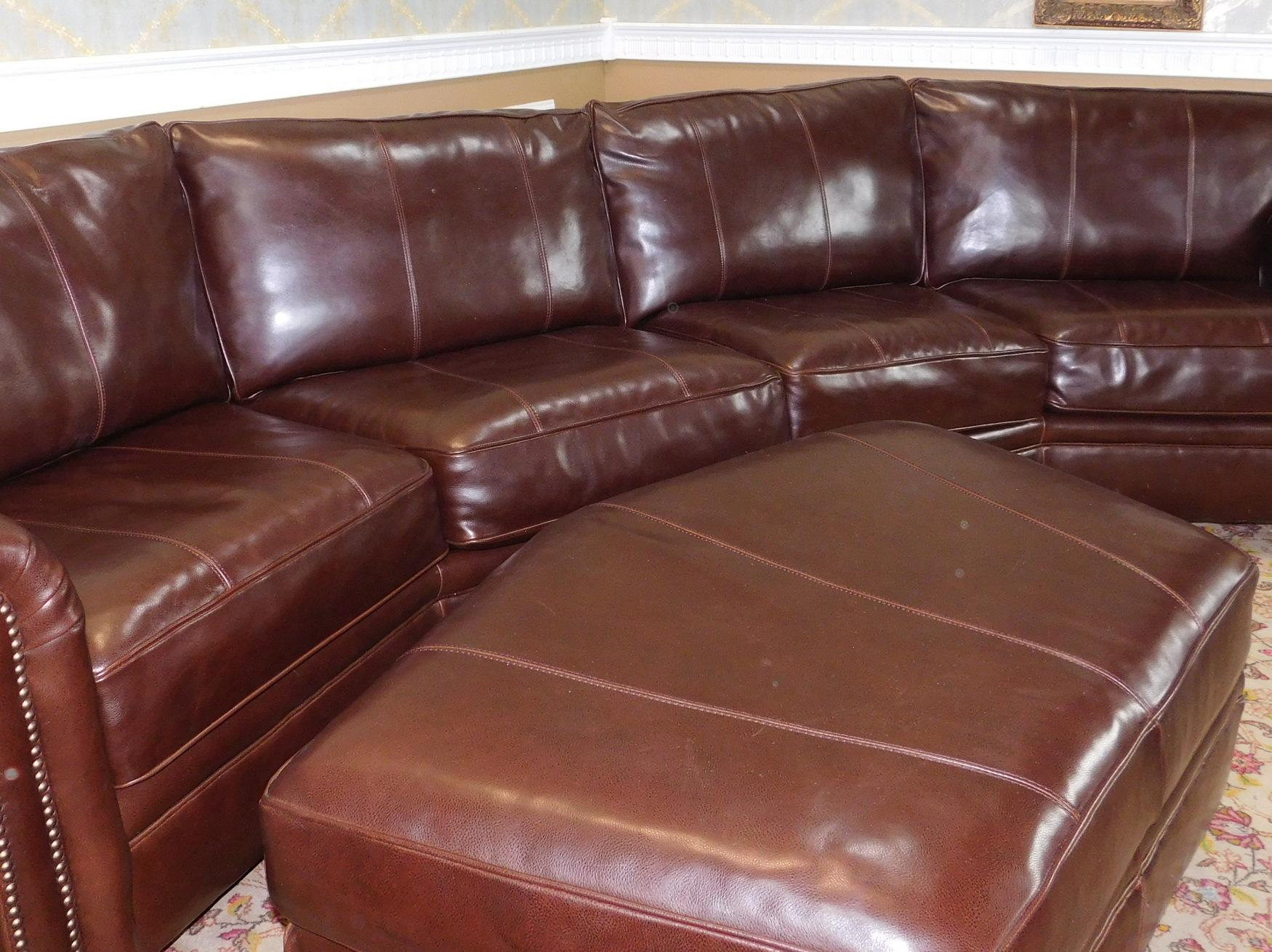 bernhardt brown leather club chair dining room seat covers walmart 3-piece sectional sofa & ottoman | chairish