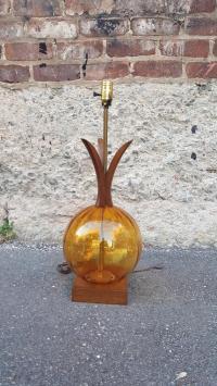 Mid-Century Amber Glass & Walnut Table Lamp   Chairish