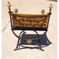 Antique Baroque Iron Velvet Chair | Chairish