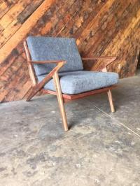 Mid-Century Selig Style Walnut Z Chair | Chairish