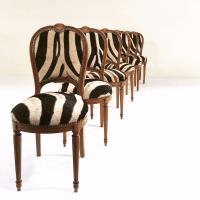 Louis XVI Maison Jansen Zebra Chairs - Set of 6   Chairish