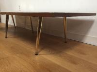 Mid-Century Tile & Brass Coffee Table | Chairish
