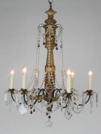 Vintage Wood & Crystal Chandelier | Chairish
