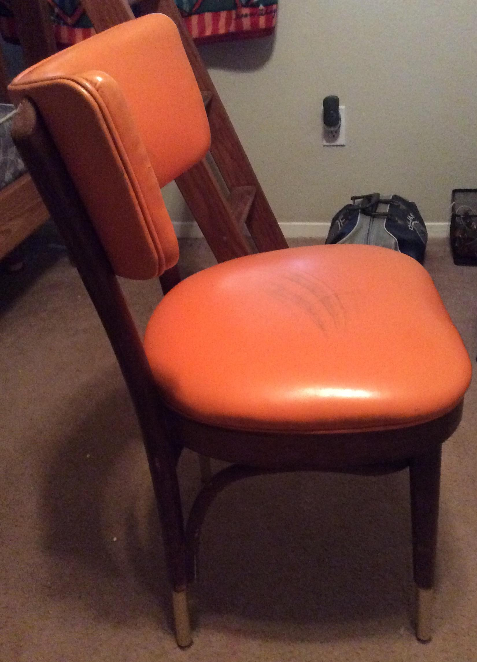 shelby williams chairs rounded corner chair rail vintage retro orange side | chairish