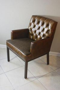 Leather & Tweed Tufted Back Armchair | Chairish