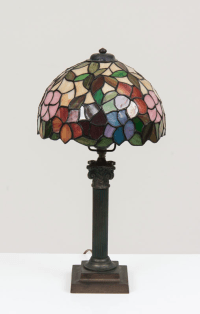 Vintage Tiffany-Style French Lamp with Handle Base   Chairish