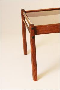Danish Modern Mid Century Wood Coffee Table With Smoked ...