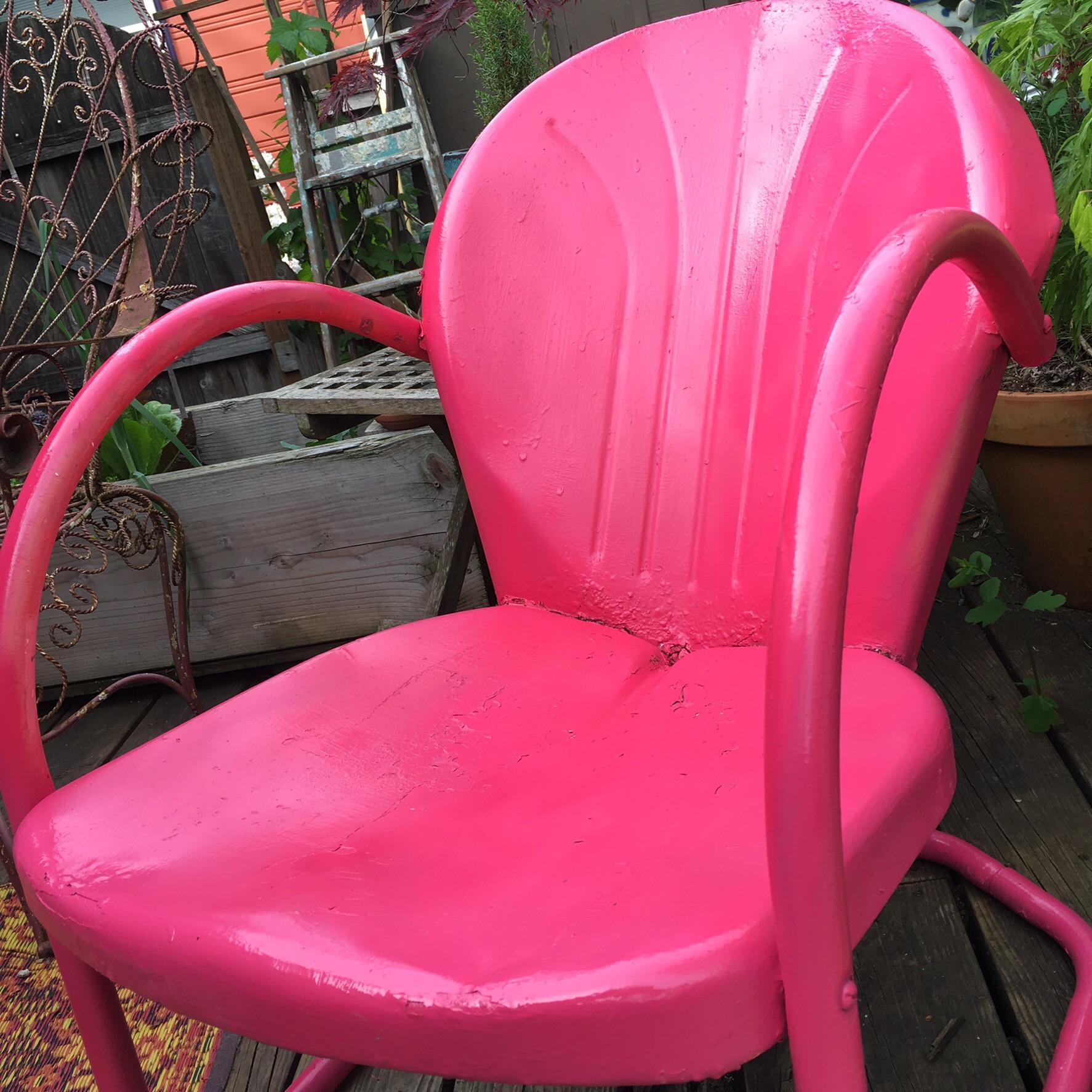 MidCentury Pink Metal Patio Chair  Chairish
