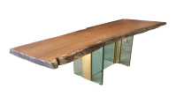 Red Oak Raw Edge & Glass Coffee Table | Chairish