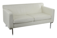 Off White Leather Two Seat Sofa by DWR | Chairish