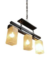 Hand Blown Glass Triple Light Fixture | Chairish