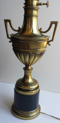 Stiffel Torchiere Lamp Brass & Hunter Green Trophy Lamp