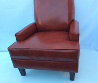 Mid-Century Red Leather Chair | Chairish