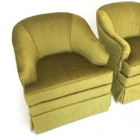 Mid-Century Swivel Club Chairs in Chartreuse Moire Fabric ...