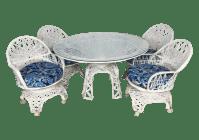 Woodard Style Spun Fiberglass Table & Chairs - S/5   Chairish