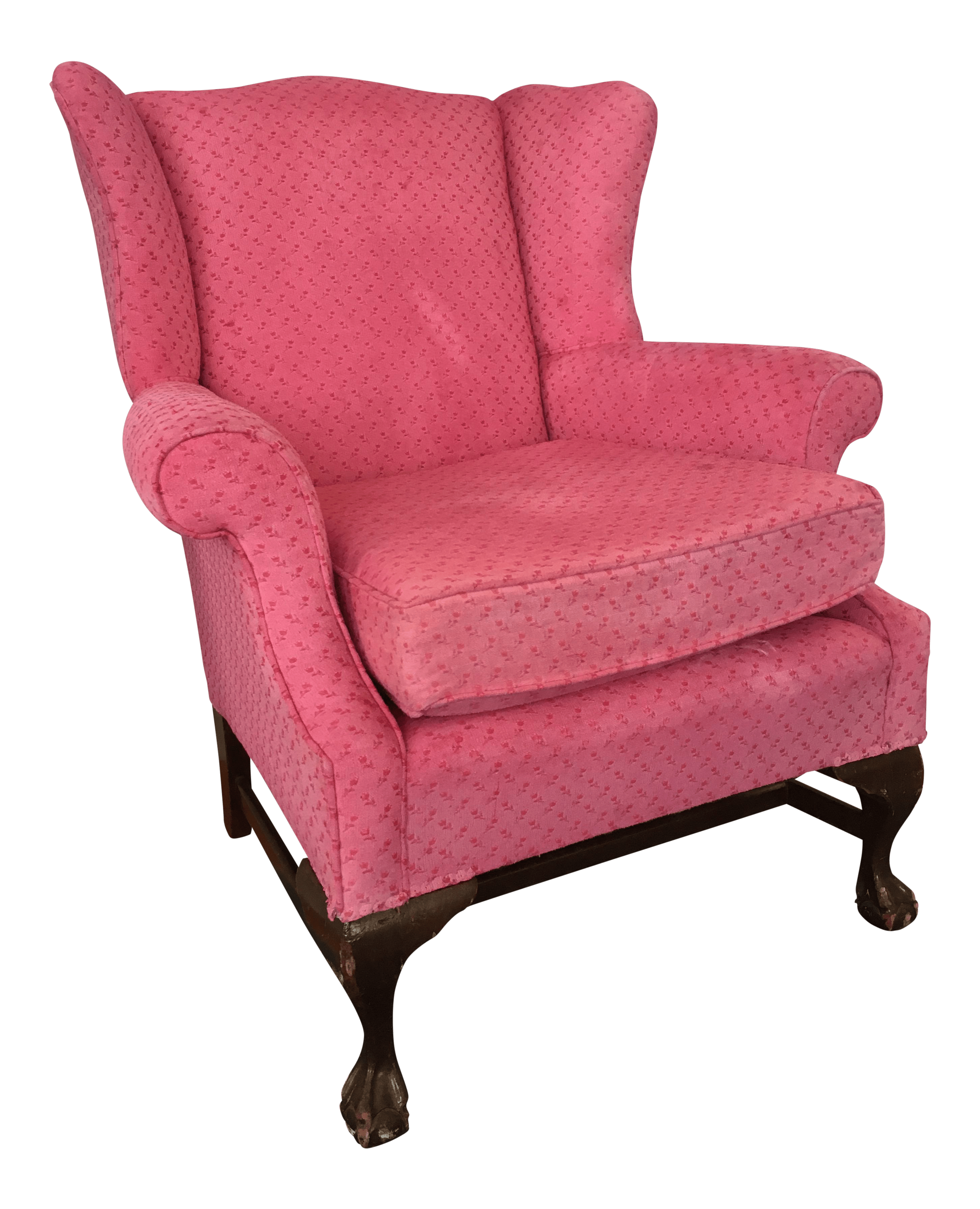 Vintage  Used Pink Wingback Chairs  Chairish