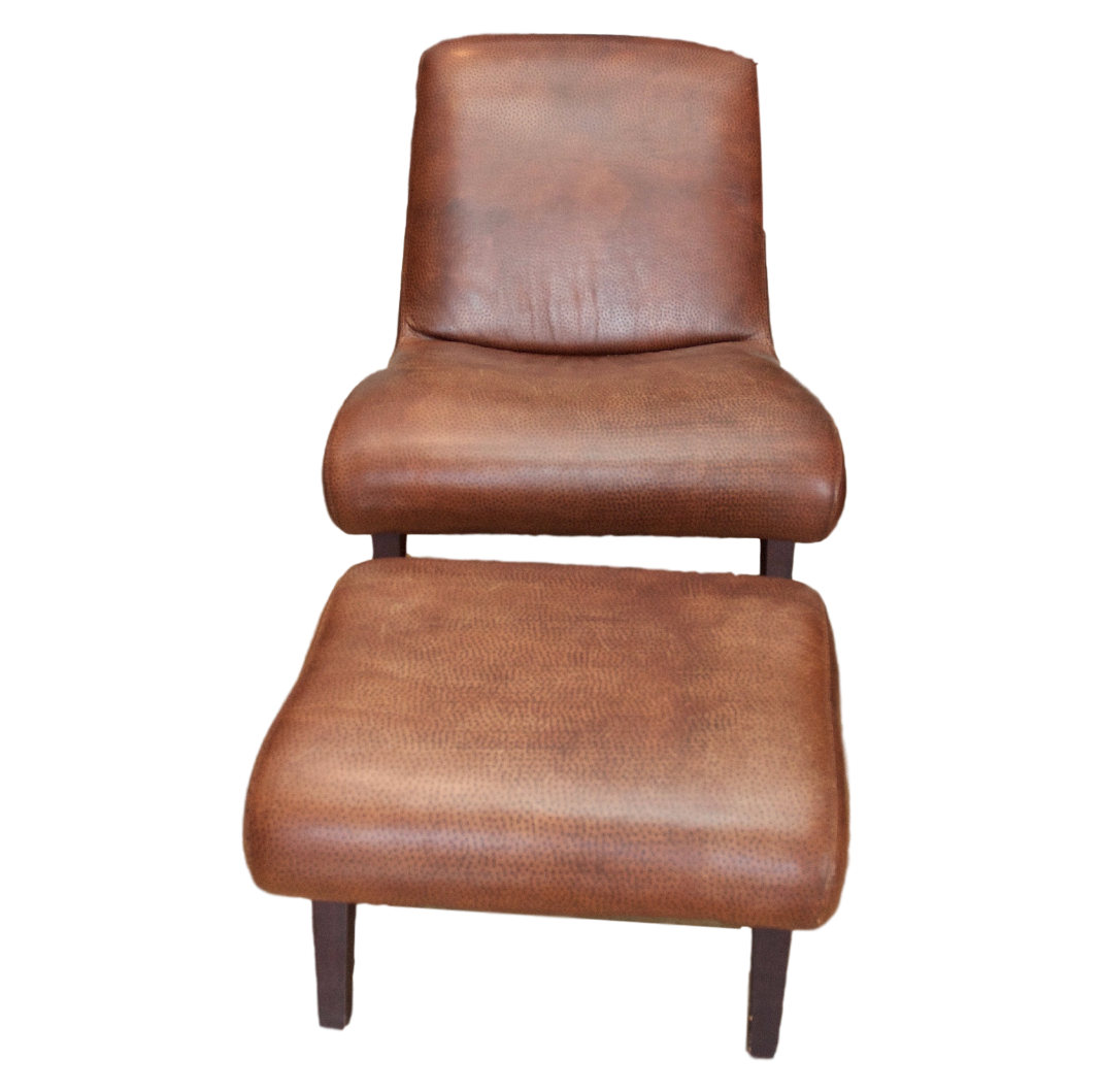 Lee Industries Leather Chair and Ottoman  Chairish