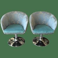 Vintage Custom Teal Swivel Chairs - A Pair | Chairish