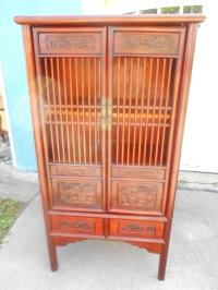Vintage Chinese Distressed Linen Cabinet | Chairish