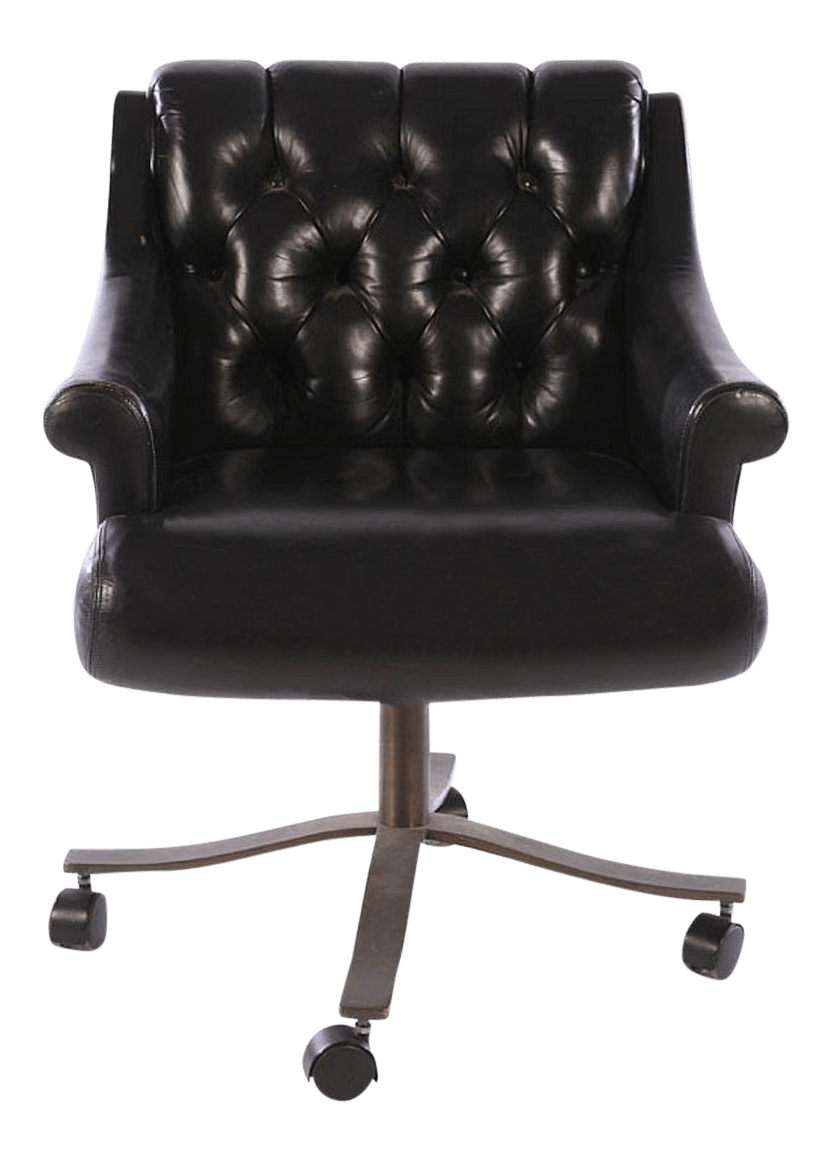 Tufted Leather Swivel Desk Chair  Chairish