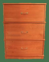 Cherry Wood Three-Drawer Filing Cabinet | Chairish