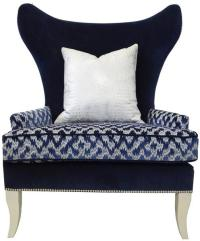 Two-Tone Blue Wing Chair   Chairish