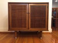 Mid-Century Modern Walnut & Cane Storage Cabinet | Chairish